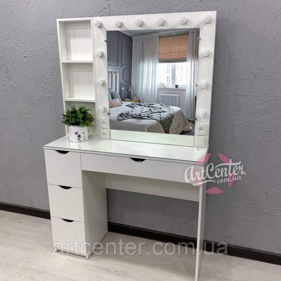 Туалетний столик з підсвічуванням, поличками біля дзеркала, висувними ящиками