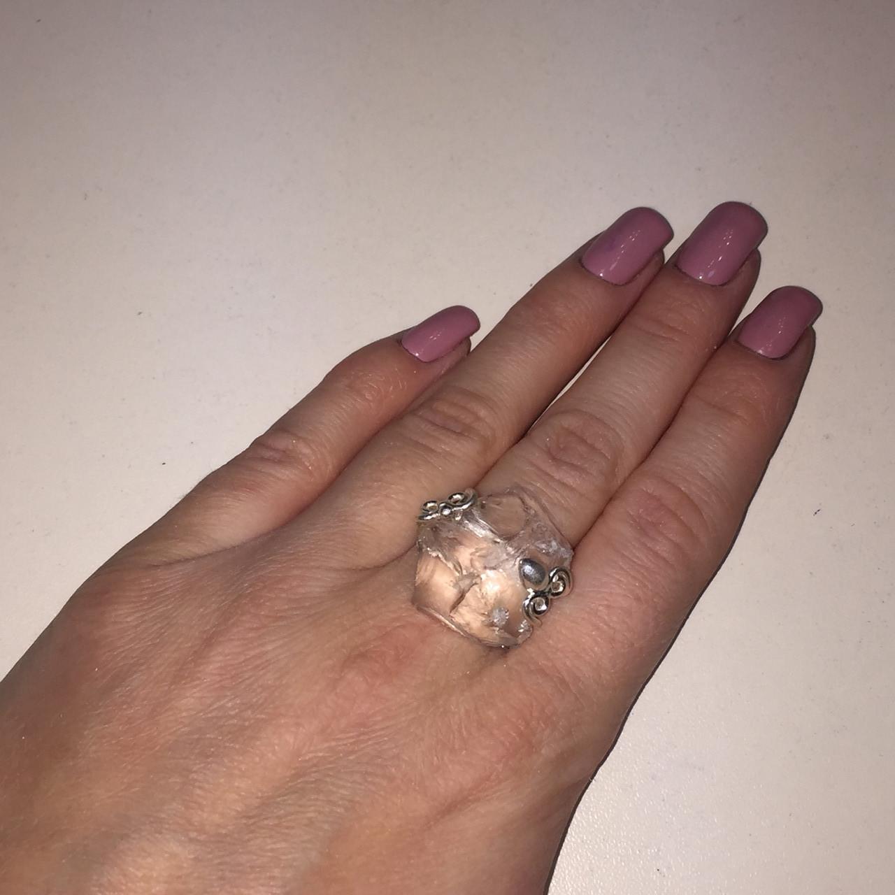 Горный хрусталь кольцо с необработанным горным хрусталем размер 19.2 Индия
