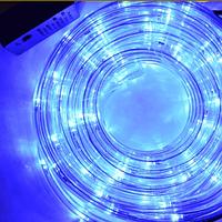 Гирлянда Шланг Дюралайт Синий 2-х жильный, 2000 см, прозрачный провод, переходник (1-151)