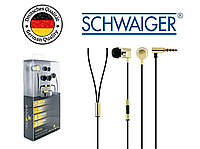 Наушники вкладыши вакуумные SCHWAIGER KH410G, Handsfree, металлические, золотые