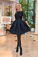 Вечернее платье с флоковым напылением на сетке