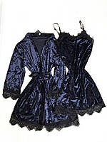 Женский велюровый пеньюар L темно синий