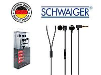 Наушники вкладыши вакуумные SCHWAIGER KH410S, Handsfree, металлические, черные