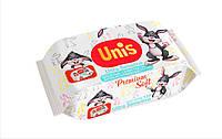 Влажные салфетки UNIS с пластиковой крышкой для детей без запаха 120 шт.