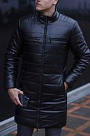 "Куртка-пальто зимняя Pobedov ""Monopoly"" Black, эко кожа"