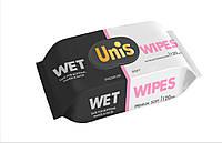 Влажные салфетки UNIS с пластиковой крышкой универсальные для всей семьи, 120 шт.