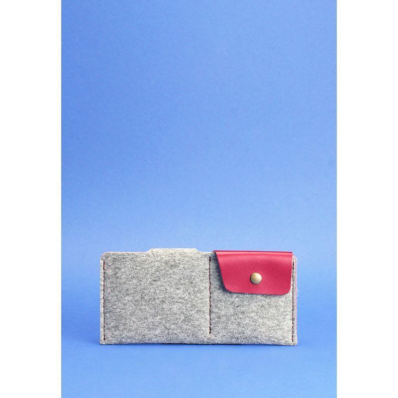 Фетровое женское портмоне-купюрник 8.0 с кожаными бордовыми вставками