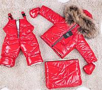 Зимний красный комбинезон тройка с натуральным мехом 0-2 года, фото 1