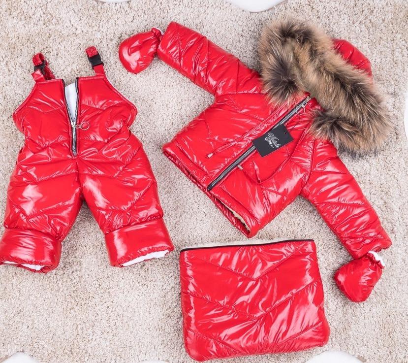 Зимний красный комбинезон тройка с натуральным мехом 0-2 года