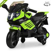 Детский электромотоцикл 3582 EL-5 зеленого цвета.