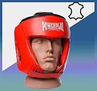 Закрытый Шлем боксерский тренировочный, подходит для карате и тхеквондо Червоний M