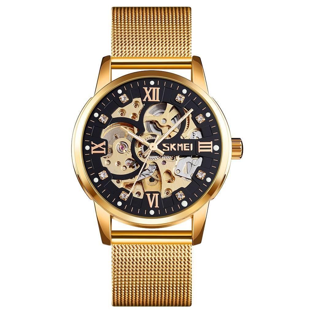 Skmei 9199 золоті з чорним чоловічий механічний годинник скелетон