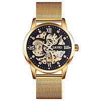 Skmei 9199 золотые с черным мужские механические часы скелетон