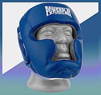 Закрытый Шлем боксерский тренировочный, подходит для карате и тхеквондо PU + Amara Синьо-Білий XS
