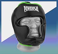 Закрытый Шлем боксерский тренировочный, подходит для карате и тхеквондо PU + Amara Чорно-Зелений M