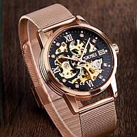 Skmei 9199 розовое золото мужские механические часы скелетон, фото 1