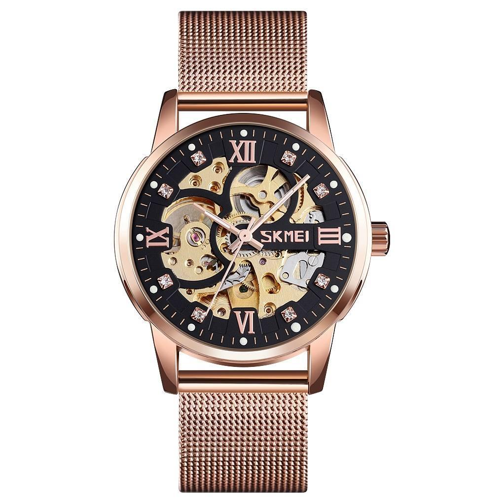 Skmei 9199 рожеве золото чоловічий механічний годинник скелетон