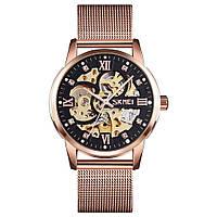 Skmei 9199 рожеве золото чоловічий механічний годинник скелетон, фото 1
