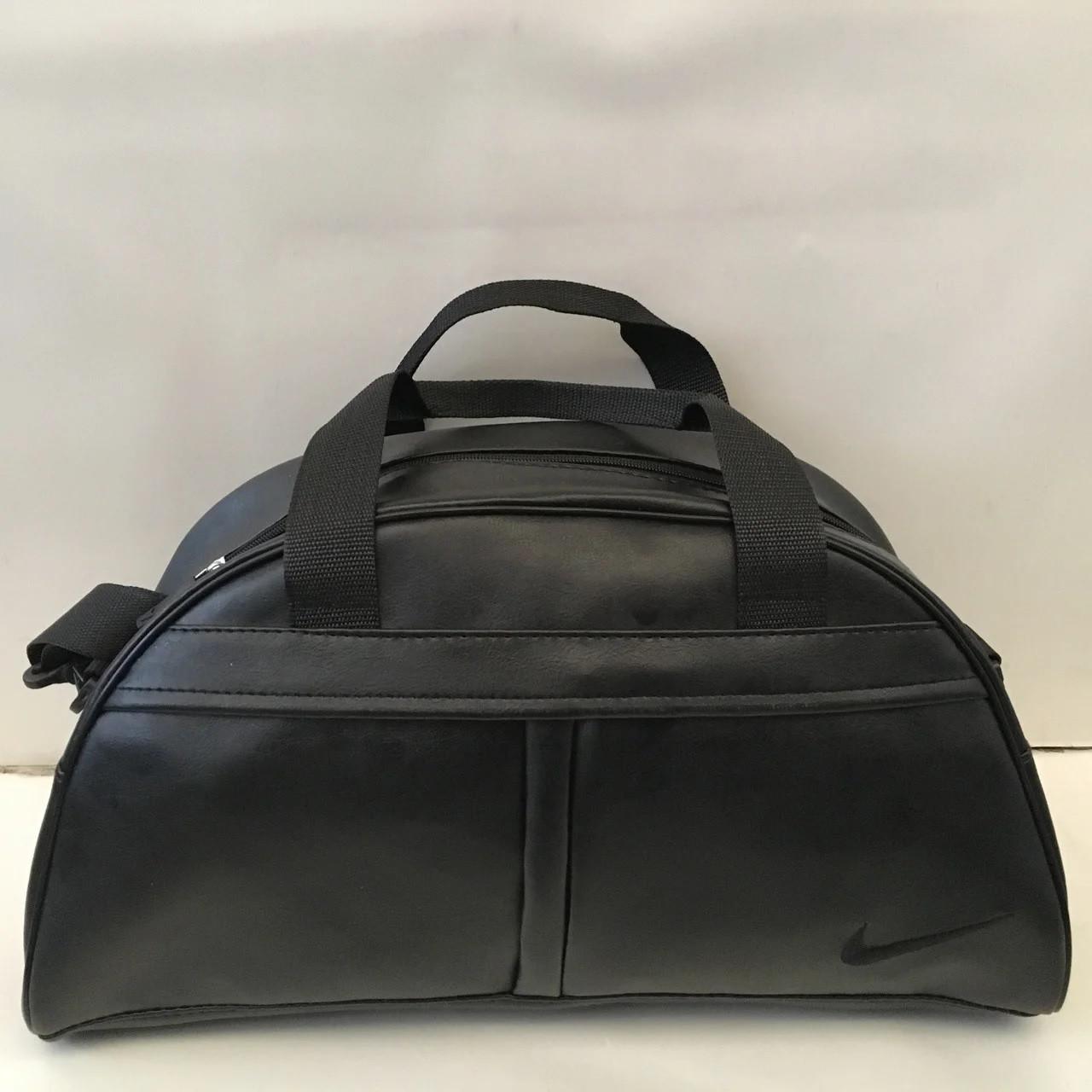 Спортивная сумка Nike из чёрного кожзама, Найк ( код: IBS035BB )