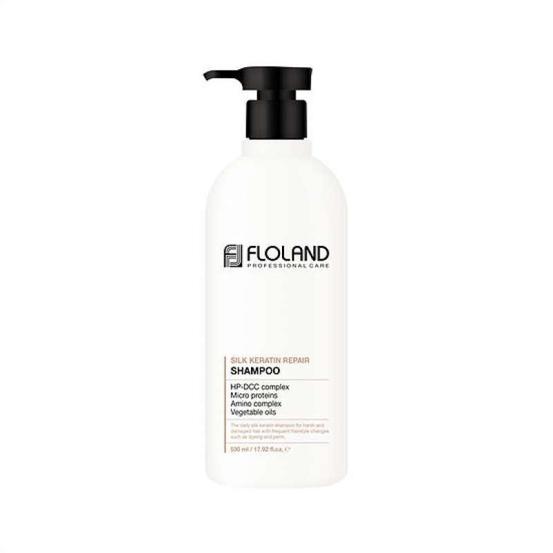 Восстанавливающий шампунь с кератином Floland Premium Silk Keratin Shampoo Объем 500 мл