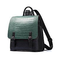 Рюкзак женский черный с зеленым Amelie Galanti.