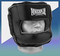 Закрытый Шлем боксерский тренировочный с бампером, подходит для карате и тхеквондо PU + Amara Чорний M