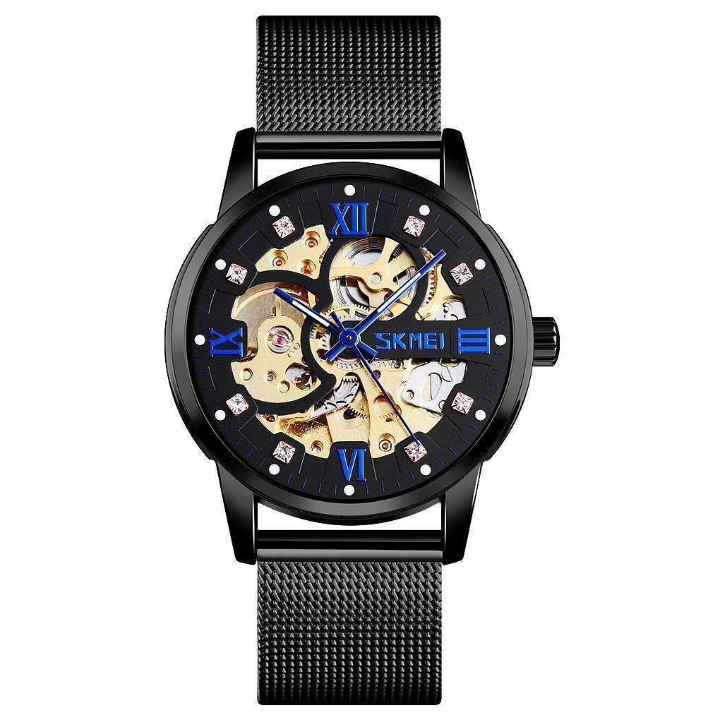 Skmei 9199 черные мужские механические часы скелетон