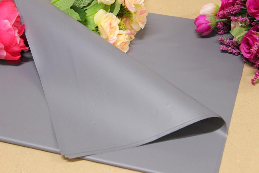 Калька для упаковки цветов Пепельно-серая непрозрачная 60*60 см, 20 листов