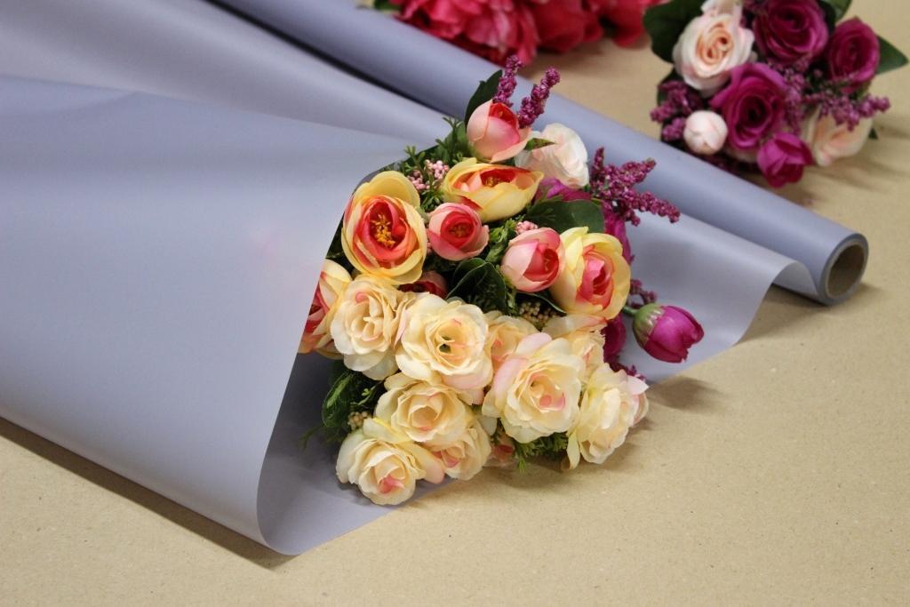 Калька для упаковки цветов в рулоне Светло-серая непрозрачная 0,7×10 м