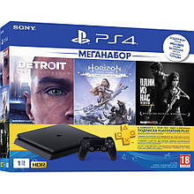 Игровая приставка Sony PlayStation 4 Slim 1TB Black Horizon Zero Dawn CE + Detroit + The Last of Us