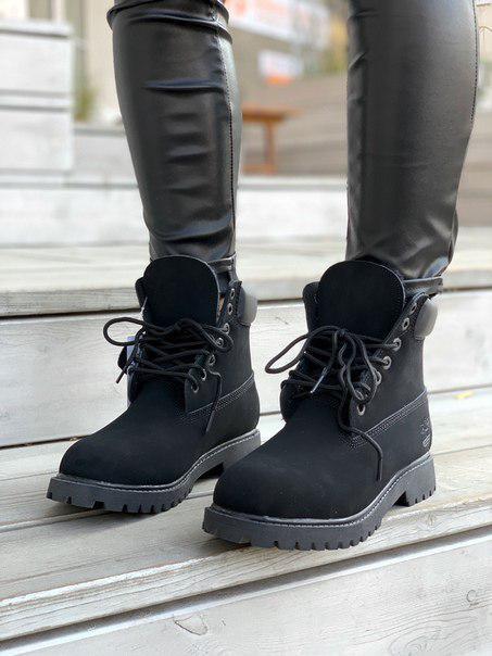 Женские ботинки Timberland Black Fur, нубук