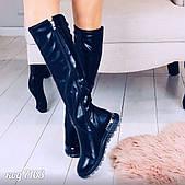 Демисезонные черные сапоги из эко-кожи на необычной платформе(3В)
