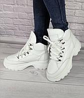 Ботинки женские из натуральной кожи белые на шнуровке спортивные на толстой белой подошве на байке/овчине