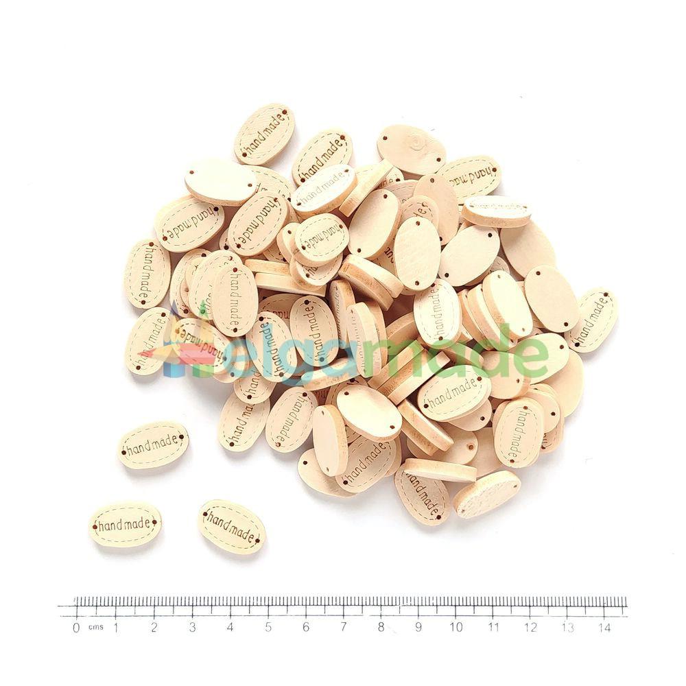 Бирки деревянные HAND MADE, 19х12 мм, 100 шт, ОПТ