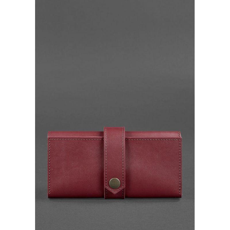 Кожаное женское портмоне 3.0 бордовое Krast