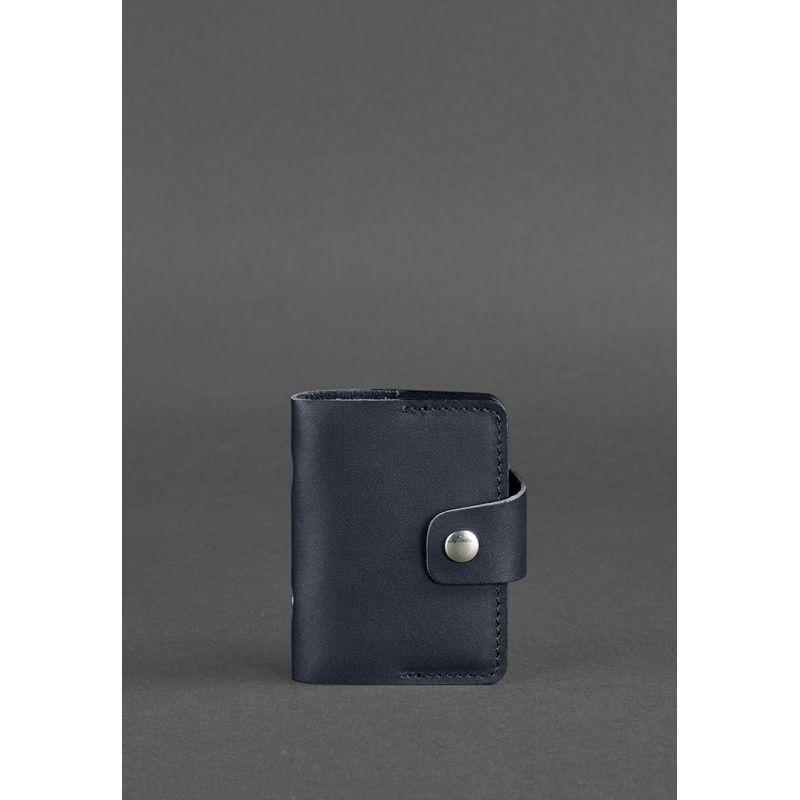 Кожаный кард-кейс 7.1 (Книжечка) темно-синий