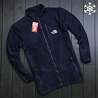 Теплая флисовая кофта The North Face (dark blue), синяя кофта The North Face (Реплика ААА)