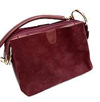 """Женский клатч """"Zara"""", замшевый, стильный, бордовый,  000192-1"""