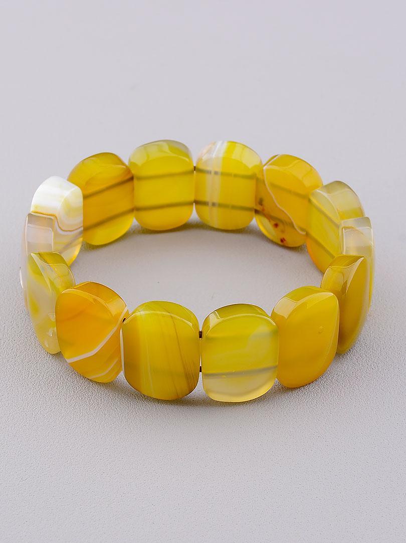 Браслет из натурального камня Агат желтый 20 см