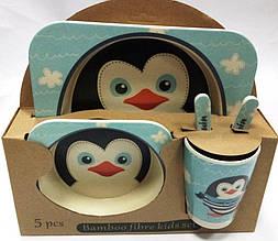 """Набор посуды из бамбука """"Пингвинёнок"""" и """"Обезьянка"""" 5 предметов"""