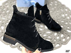 40 р. Ботинки женские зимние черные замшевые на низком ходу, из натуральной замши, натуральная замша
