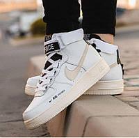 Nike Air Force 1 High Utility White/Light Cream | кроссовки женские и мужские; белые; кожаные осенние/весенние