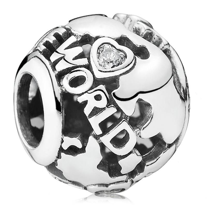 Шарм «Вокруг света» из серебра 925 пробы копия Pandora