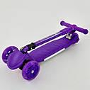 Самокат детский складной фиолетовый со светящимися колесами и подсветкой платформы Best Scooter, фото 3