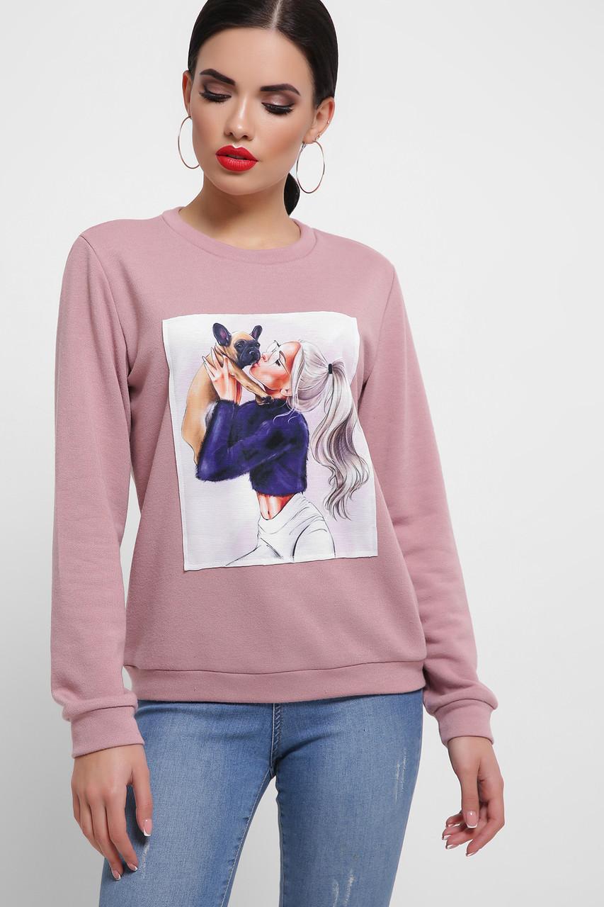 Женский свитшот с принтом Девушка с собачкой