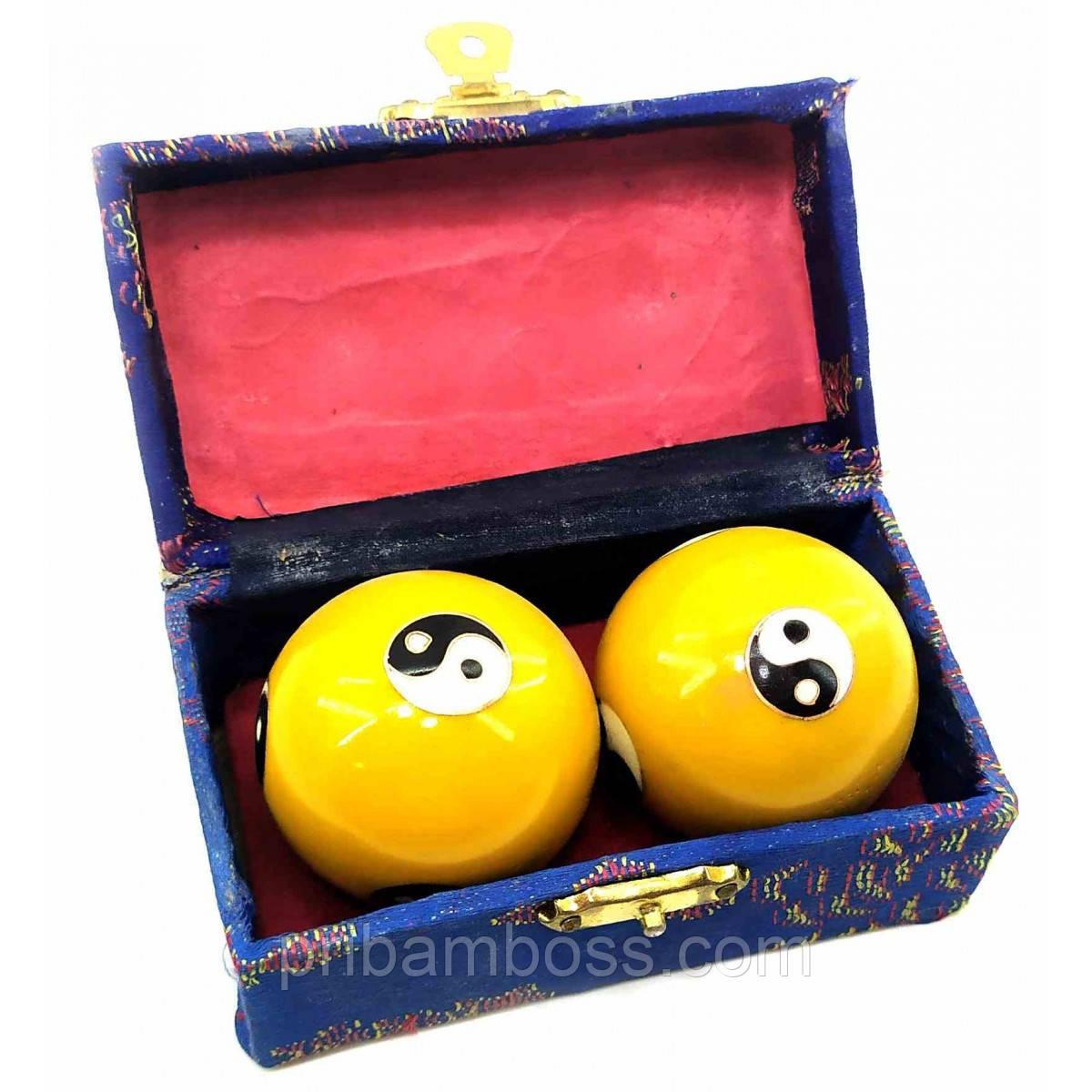 """Кулі масажні музичні """"Інь Янь"""" жовті 4,5 см"""