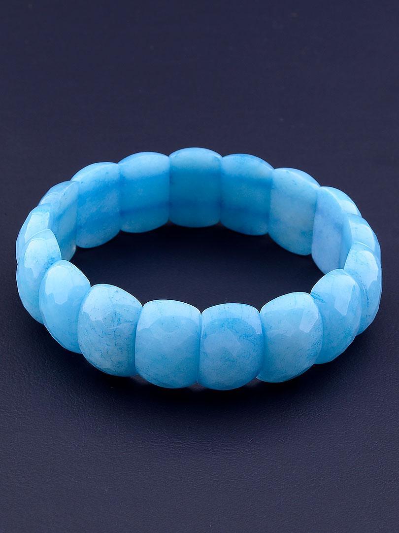 Браслет из натурального камня Агат голубого цвета 20 см
