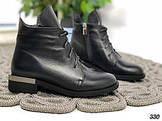 40 р. Ботинки женские зимние черные кожаные на низком ходу, из натуральной кожи, натуральная кожа