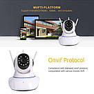 Беспроводная поворотная Wi-Fi IP Камера видеонаблюдения Onvif 720HD 355° Видеокамера с микрофоном на 3 антенны, фото 3