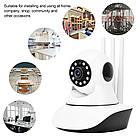 Беспроводная поворотная Wi-Fi IP Камера видеонаблюдения Onvif 720HD 355° Видеокамера с микрофоном на 3 антенны, фото 4